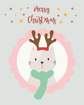 Cartão de natal. gato fofo.