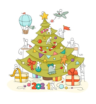 Cartão de natal. ilustração do doodle dos desenhos animados com pequenas pessoas, prepare-se para a celebração.