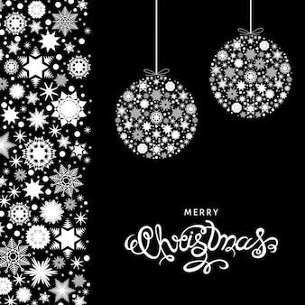 Cartão de natal. letras de mão em fundo preto com bolas de árvore de natal. ilustração vetorial.