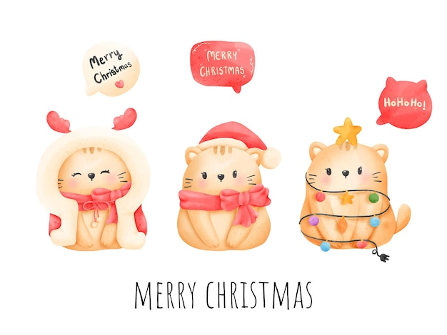 Cartão de natal meowy da aquarela da pintura digital. vetor de gato de natal.