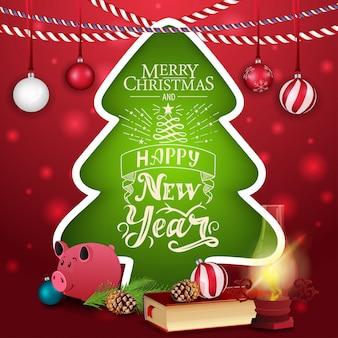 Cartão de natal na forma de uma árvore de natal com lâmpada antiga e porco