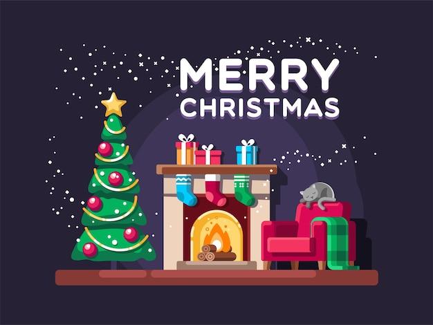 Cartão de natal na sala de estar com árvore de presentes e ilustração de lareira