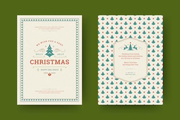 Cartão de natal ornamentado com símbolos de decoração com desejo de férias