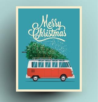 Cartão de natal ou cartaz com carro retrô vermelho van ônibus com árvore de natal no telhado.