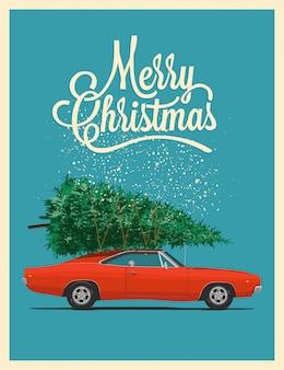 Cartão de natal ou cartaz com carro vermelho retrô com árvore de natal no telhado.