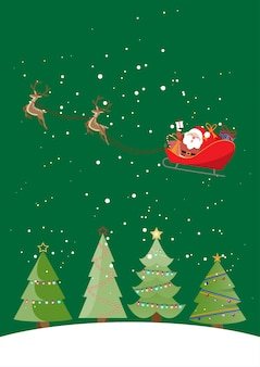 Cartão de natal, papai noel e renas em um carrinho, conceito de plano de fundo de natal.