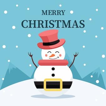 Cartão de natal para dedicação boneco de neve