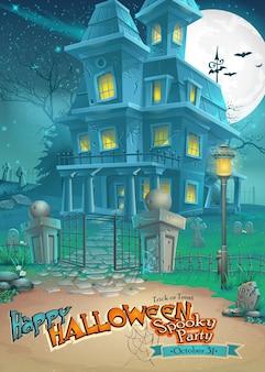 Cartão de natal para o halloween com uma casa estranha e misteriosa com fantasmas