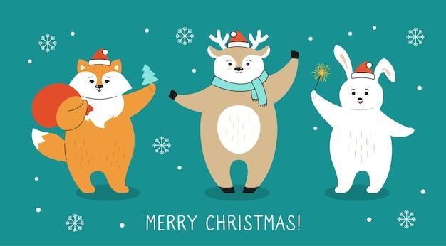 Cartão de natal, personagem de desenho animado de raposa, cervo e lebre com bolsa de papai noel e neve
