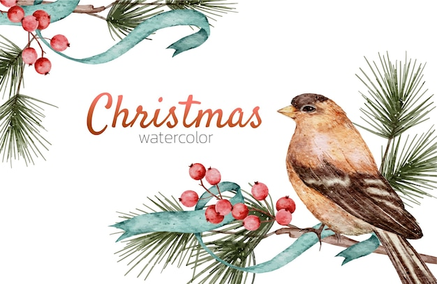 Cartão de natal pintura à mão em aquarela