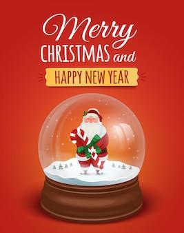 Cartão de natal, poster com papai noel no globo de neve. . feliz natal e feliz ano novo letras de texto