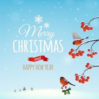 Cartão de natal, pôster. pássaro de dom-fafe na de uma paisagem de inverno e um arbusto com bagas. . feliz natal e feliz ano novo