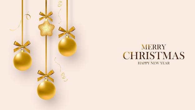 Cartão de natal. projeto de decorações de natal penduradas em uma fita e flocos de neve. feliz natal e feliz ano novo.
