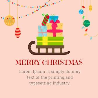 Cartão de natal quadrado com uma montanha de presentes em um trenó e decorações de natal.