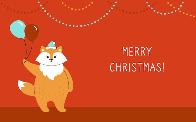 Cartão de natal, raposa com balões