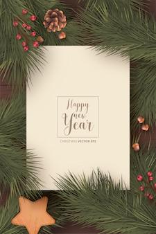 Cartão de natal realista com natureza de inverno