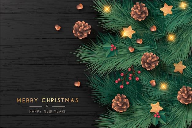 Cartão de natal realista em fundo preto de madeira