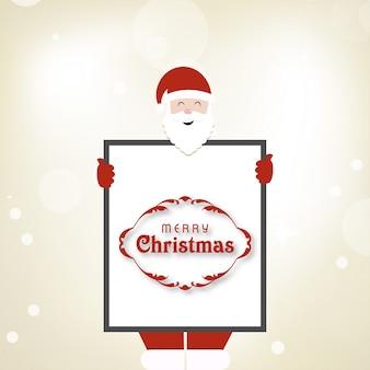 Cartão de natal. santa está segurando um quadro com cumprimentos de férias