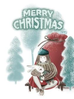 Cartão de natal. uma garota com uma boina turquesa, macacão de malha, saia vermelha, meia-calça branca, sapatos marrons, senta-se em um banco, segura um coelhinho de brinquedo. saco grande de presente vermelho. paisagem de inverno, árvores de natal cobertas de neve
