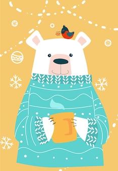 Cartão de natal. urso polar em suéter e xícara quente