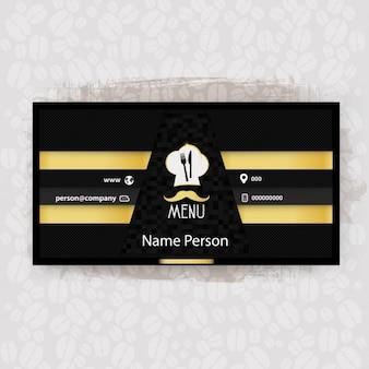 Cartão de negócio da restauração preto e amarelo