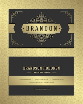 Cartão de negócios de luxo e modelo de vetor logotipo vintage ornamento dourado.
