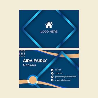 Cartão de negócios frente e verso imobiliário