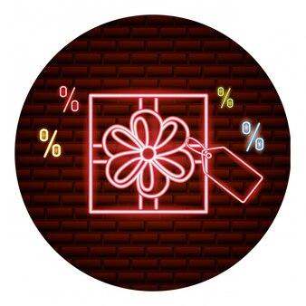 Cartão de néon de compras online