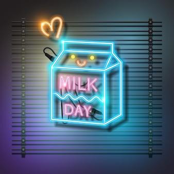 Cartão de néon feliz do dia do leite