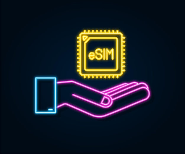 Cartão de néon sim embutido com as mãos ícone símbolo conceito novo chip móvel esim
