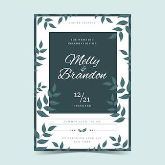 Cartão de noivado com motivos florais