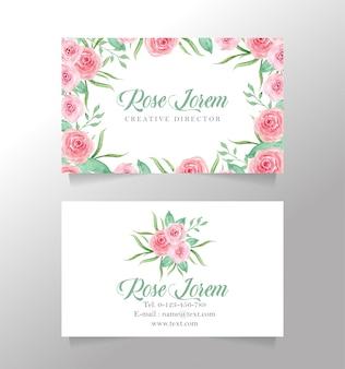 Cartão de nome branco e modelo de flor