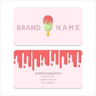 Cartão de nome bussiness sorvete design plano cor-de-rosa