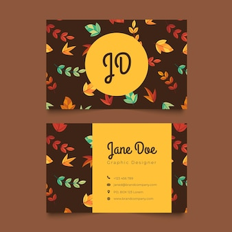 Cartão de nome de padrão de folhas de outono sem emenda