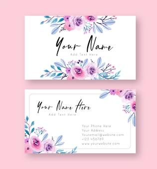 Cartão de nome floral aquarela roxo e rosa