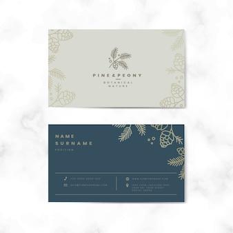 Cartão de nome floral frente e verso