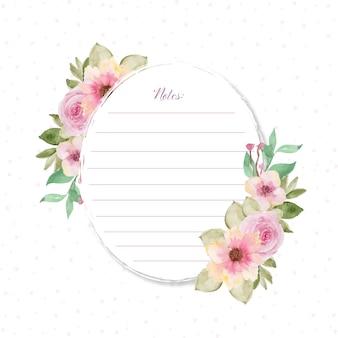Cartão de nota adorável com flores e fundo pontilhado
