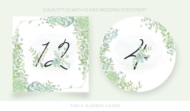 Cartão de número de mesa com folhas de aquarela