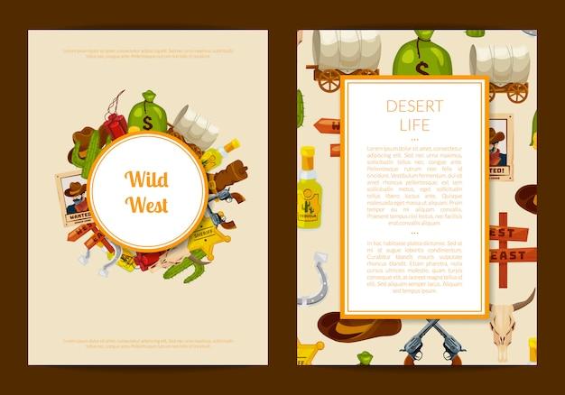 Cartão de oeste selvagem dos desenhos animados ou panfleto