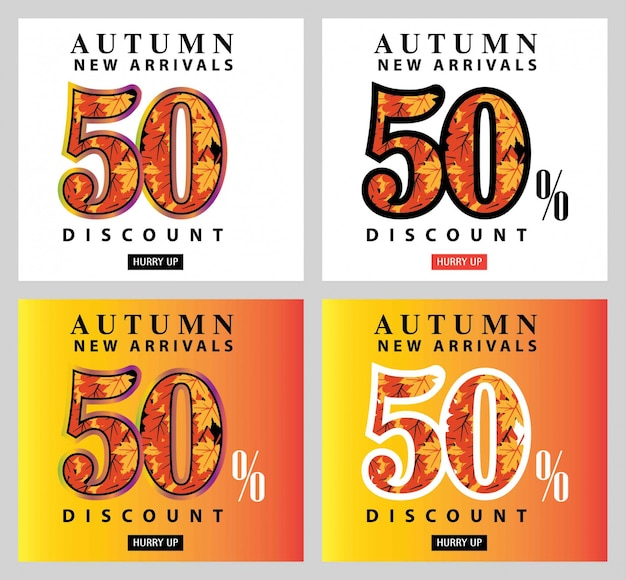 Cartão de oferta de interesse de venda outono e conjunto de rótulo