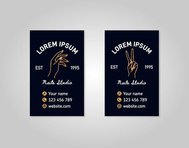 Cartão de ouro de dois modelos verticais com uma mão feminina em um estilo linear moderno. logotipo do vetor para um salão de beleza ou uma manicure. para embalagem de creme para as mãos ou esmalte, unha, sabonete, loja de beleza