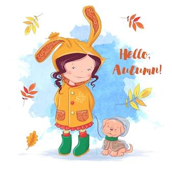 Cartão de outono bonito com uma menina e um cachorro, folhas de outono.