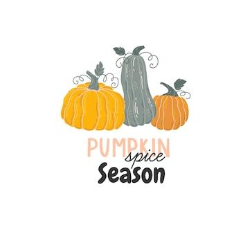 Cartão de outono com abóboras, folhas de outono, ramos e frutos. letras de citação de outono. vetor