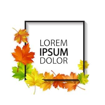 Cartão de outono com folhas de bordo vermelhas, amarelas e verdes