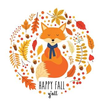 Cartão de outono com fox bonito, folhas, bolota e texto