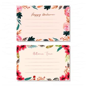 Cartão de outono com fundo aquarela floral