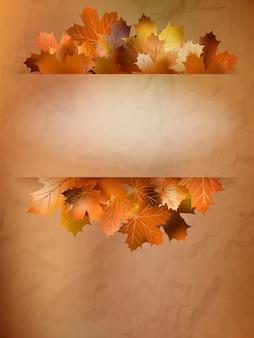 Cartão de outono de folhas coloridas.