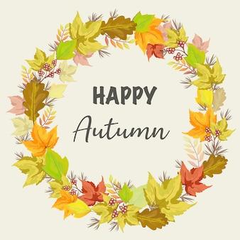 Cartão de outono desenhado de mão