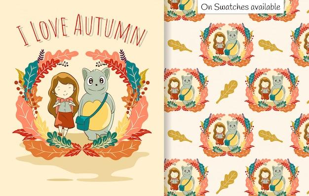 Cartão de outono e padrão sem emenda com uma mão desenhada de uma linda garota e sua amiga indo para a escola