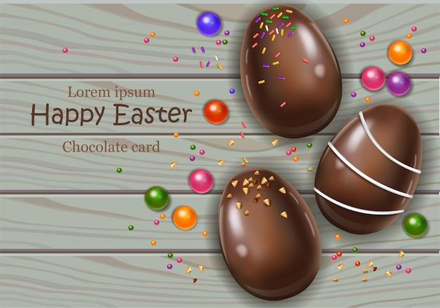 Cartão de ovos de chocolate feliz páscoa